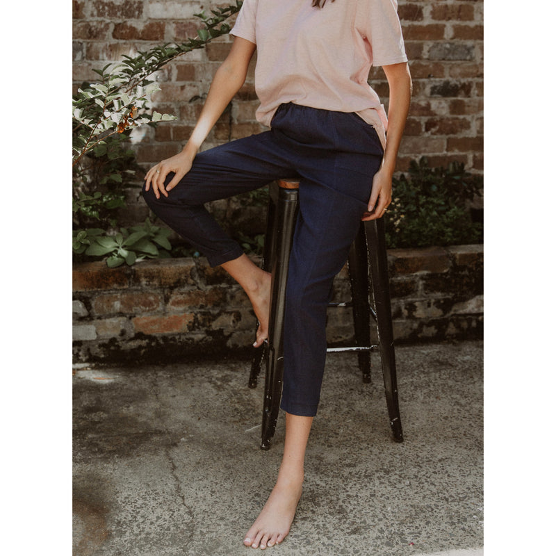 M.I.L.S.O.N Maddison Linen Pant in Navy