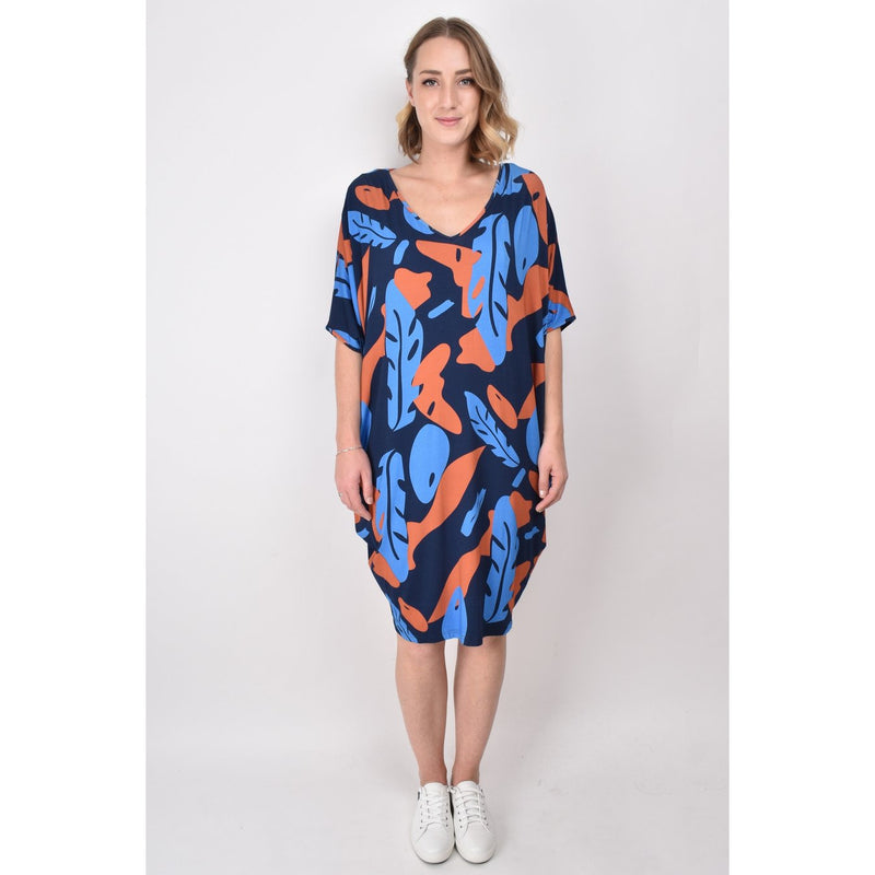 PQ COLLECTION Miracle Dress in Falling Leaves Print