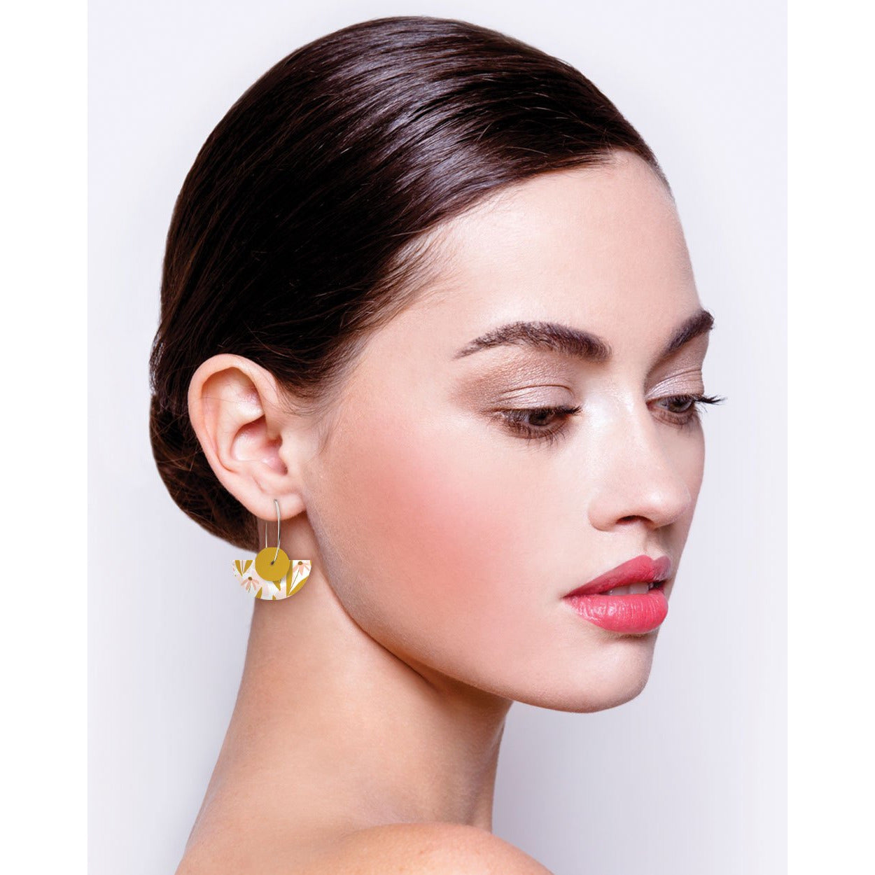 Moe Moe Design Marguerite Blossom Helsinki Mon Amour Layered Medium Moon Hoops Earrings