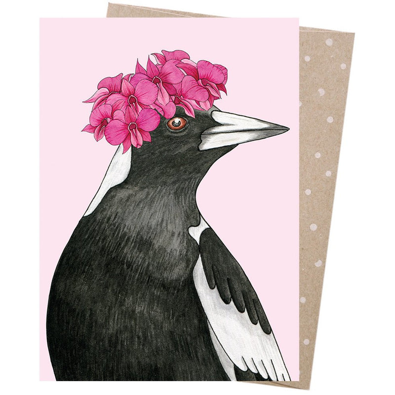 Earth Greetings Card Orchid Crowned Magpie
