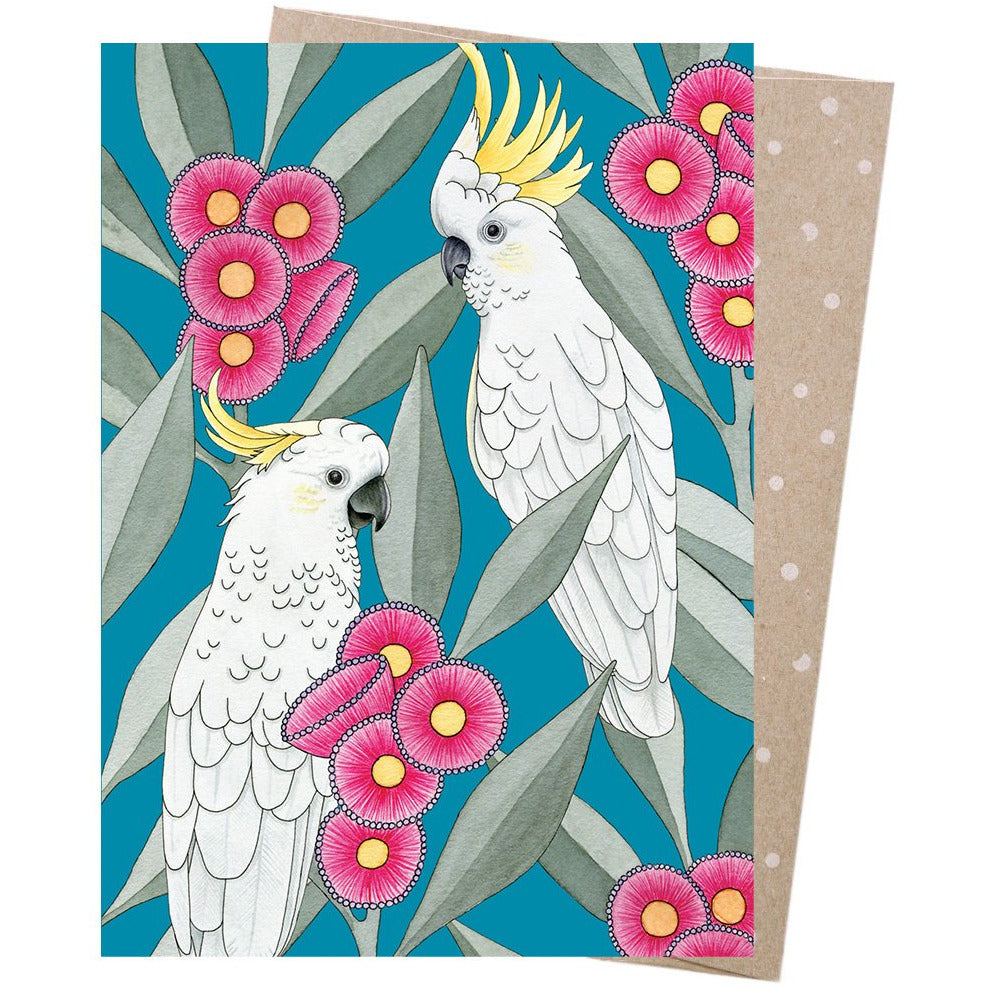 Earth Greetings Card Silver Gum Cockatoos