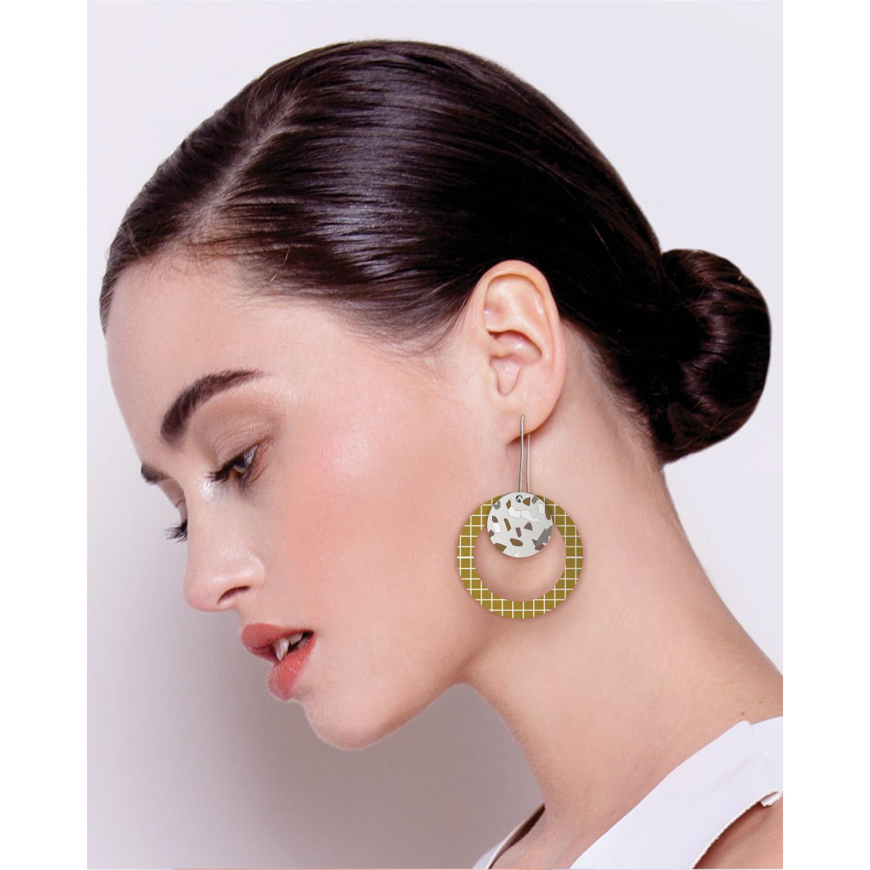 Moe Moe Design Neutral Tones Terrazzo Grid Layered Circle Outline Long Drop Earrings