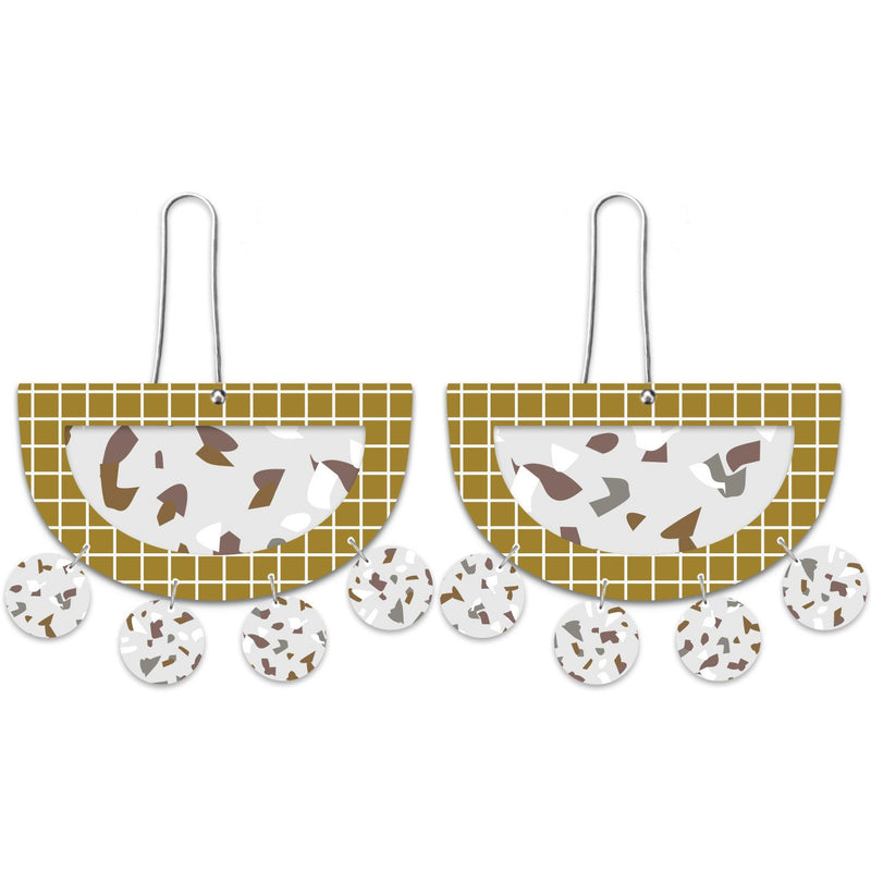 Moe Moe Design Neutral Tones Terrazzo Grid Layered Mood Outline Long Drop Earrings