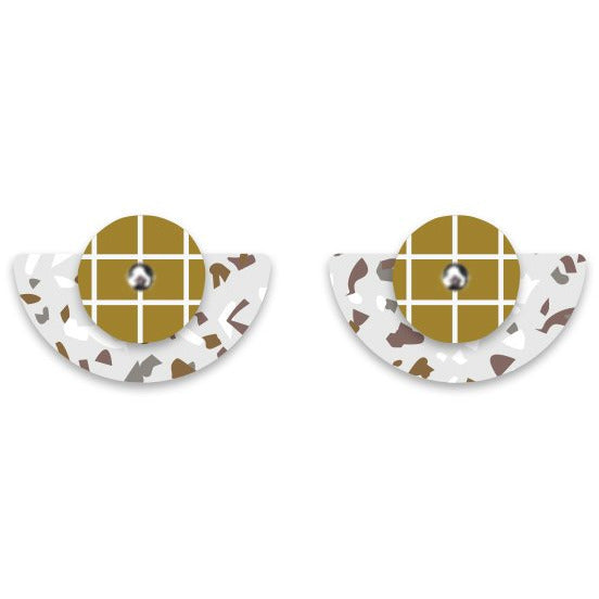 Moe Moe Design Neutral Tones Terrazzo Grid Layered Small moon Stud Earrings