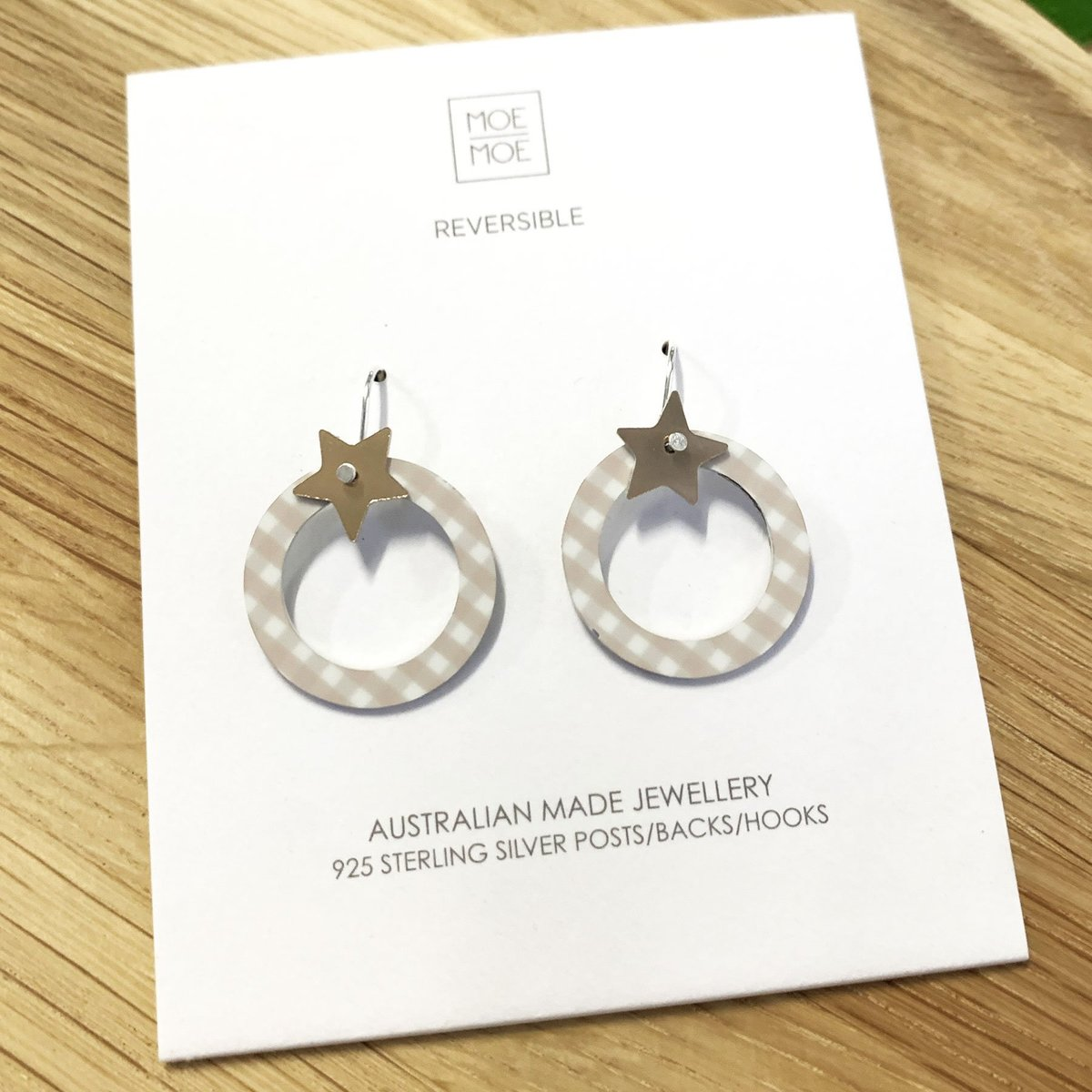 Moe Moe Design Oat Gingham Star Outline Circle Drop Earrings