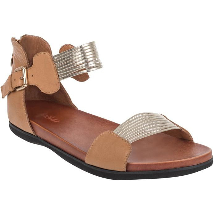 Hinako Ozzy Tan Leather and Metallic Gold Sandals