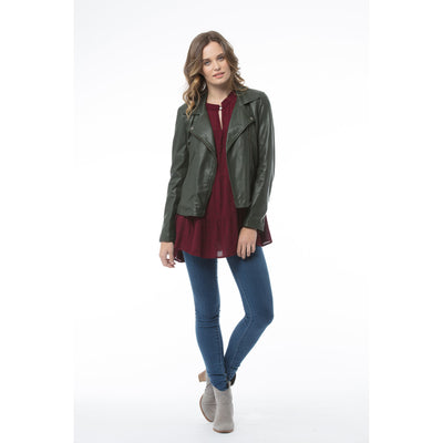 Kaja Portia Leather Jacket in Forest Green