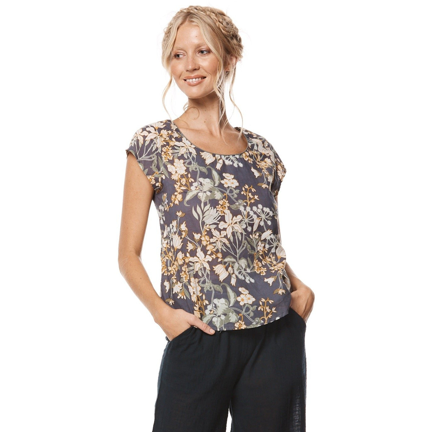 MahaShe Remi Top in Zinnia print.