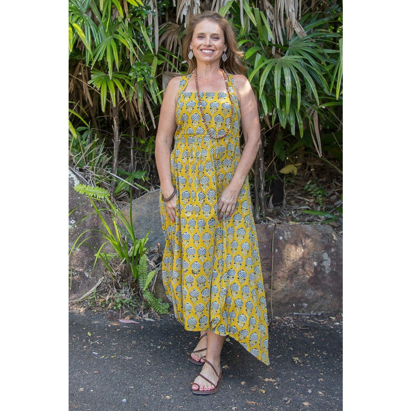 Soulsong Rosa Dress in Tumeric Flower Print