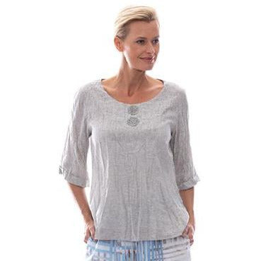 Sequel by Cafe Latte Applique Top in Natural Plain Linen
