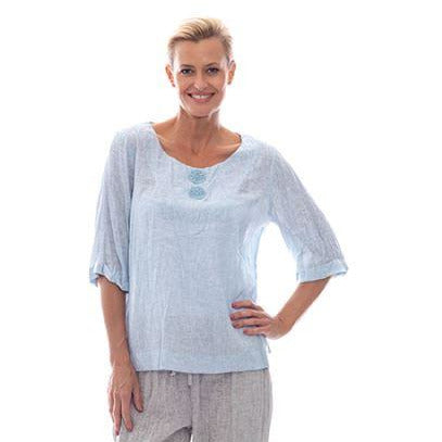 Sequel by Cafe Latte Applique Top in Pale Blue Plain Linen