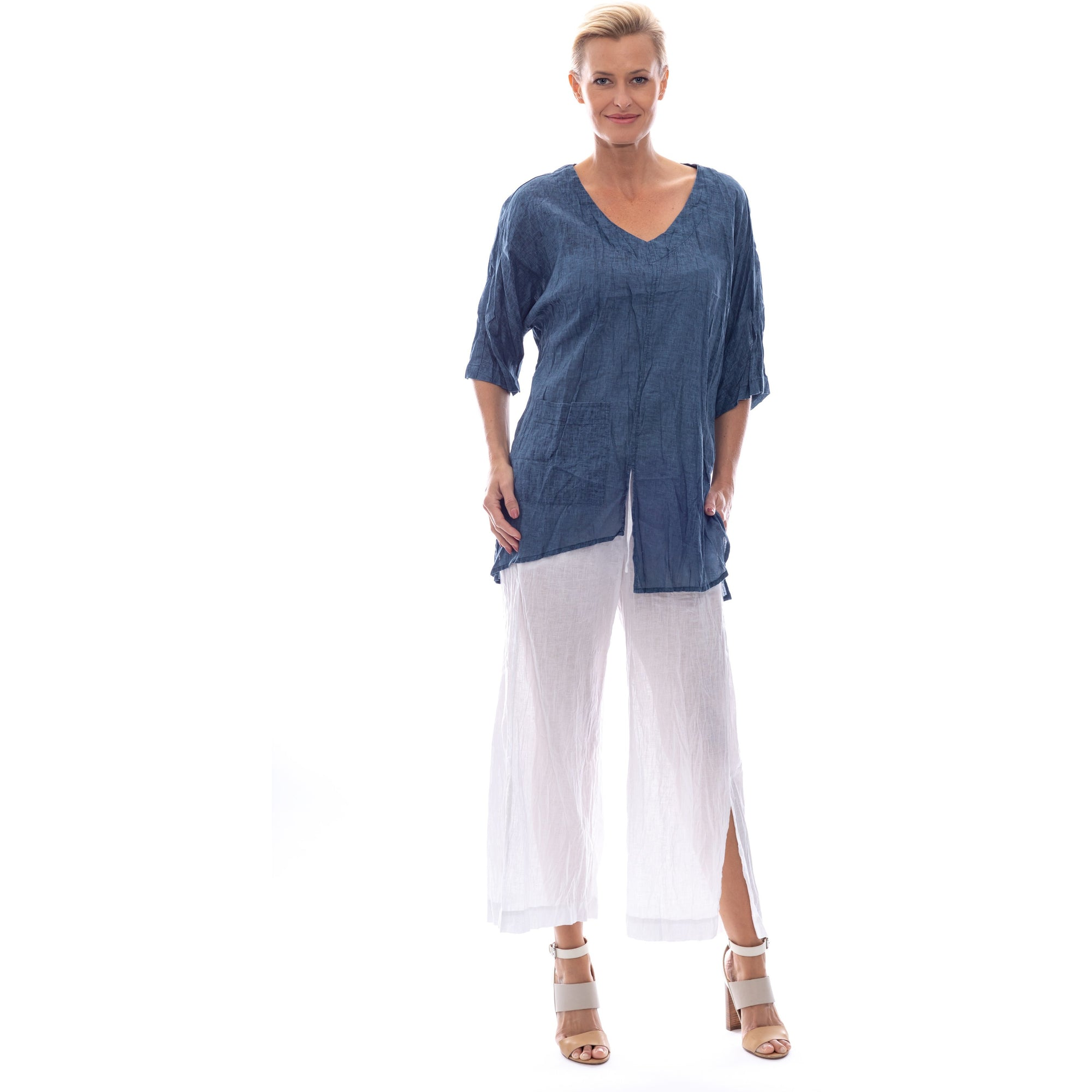 Sequel by Cafe Latte Split Top In Indigo Blue