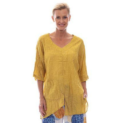 Sequel by Cafe Latte Split Top In Mustard