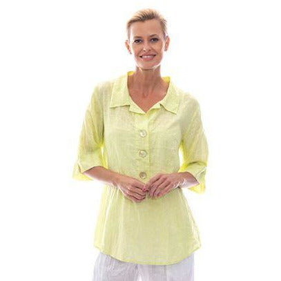 Sequel by Cafe Latte Top in Lime Plain Linen