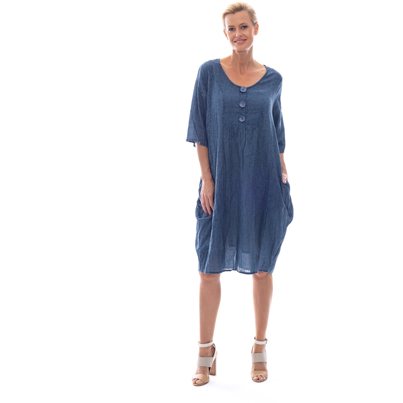 Sequel by Cafe Latte Dress in Denim Blue Plain
