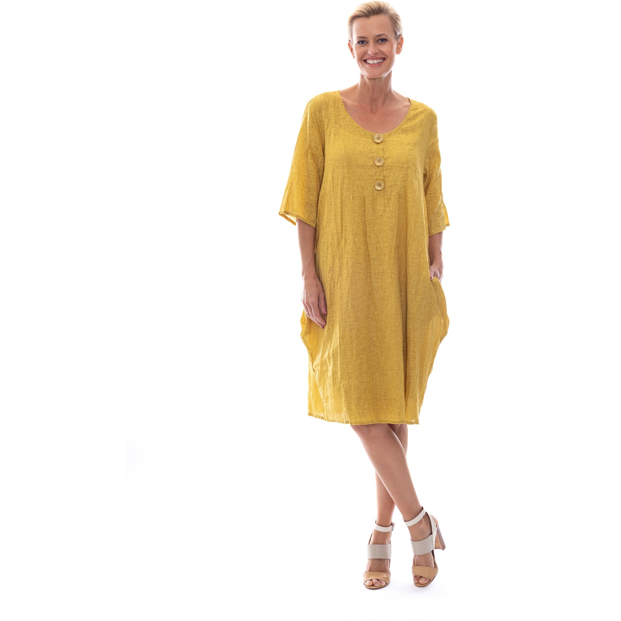 Sequel by Cafe Latte Dress in Mustard Plain