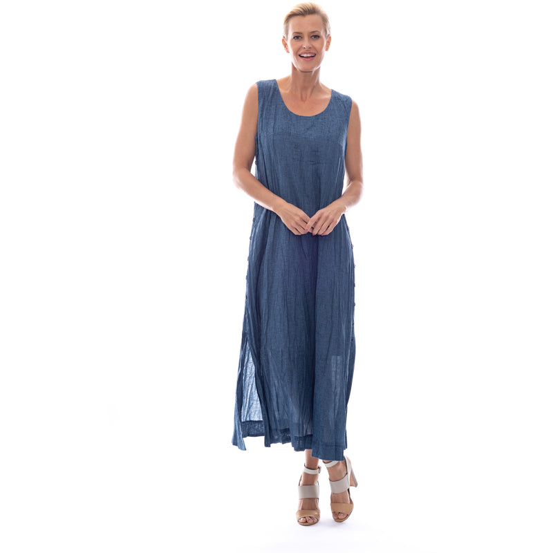 Sequel by Cafe Latte Maxi dress in Indigo Blue Plain Linen