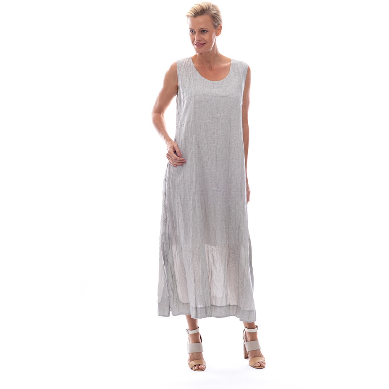Sequel by Cafe Latte Maxi dress in Natural Plain Linen