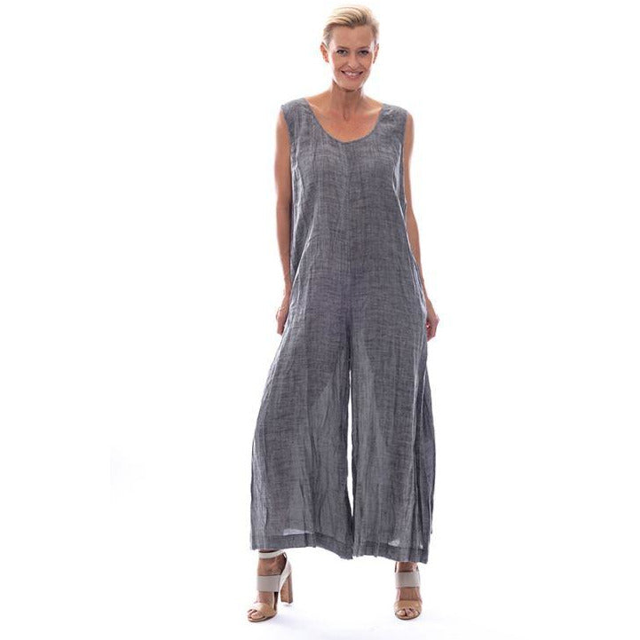 Sequel by Cafe Latte Jumpsuit in Charcoal Plain Linen