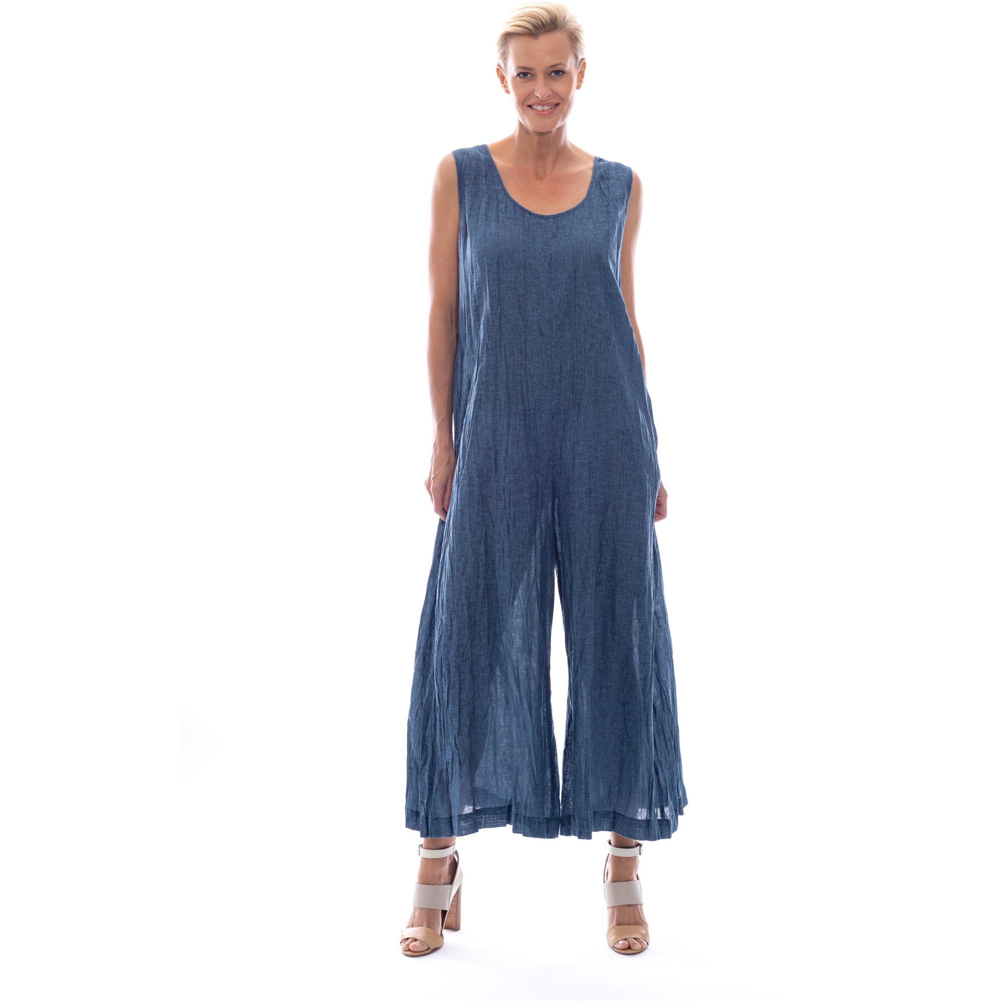 Sequel by Cafe Latte Jumpsuit in Indigo Blue Plain Linen