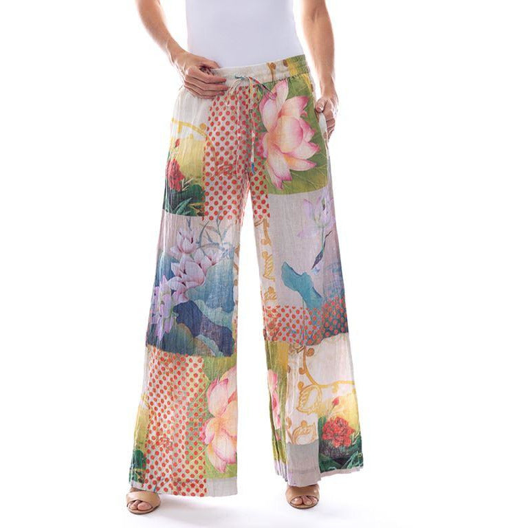 Sequel by Cafe Latte Pant Linen bird print