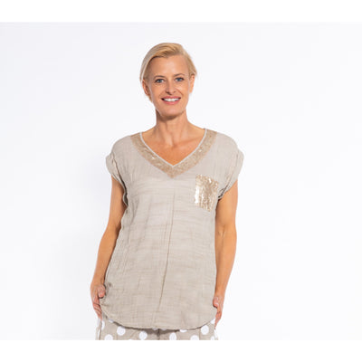 Sequel by Cafe Latte V Neck Cap Sleeve Top w/Sequins in Natural