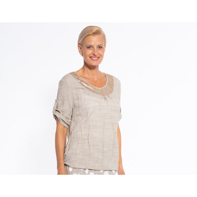 Sequel by Cafe Latte Round neck top with Roll up sleeves and sequins in Natural