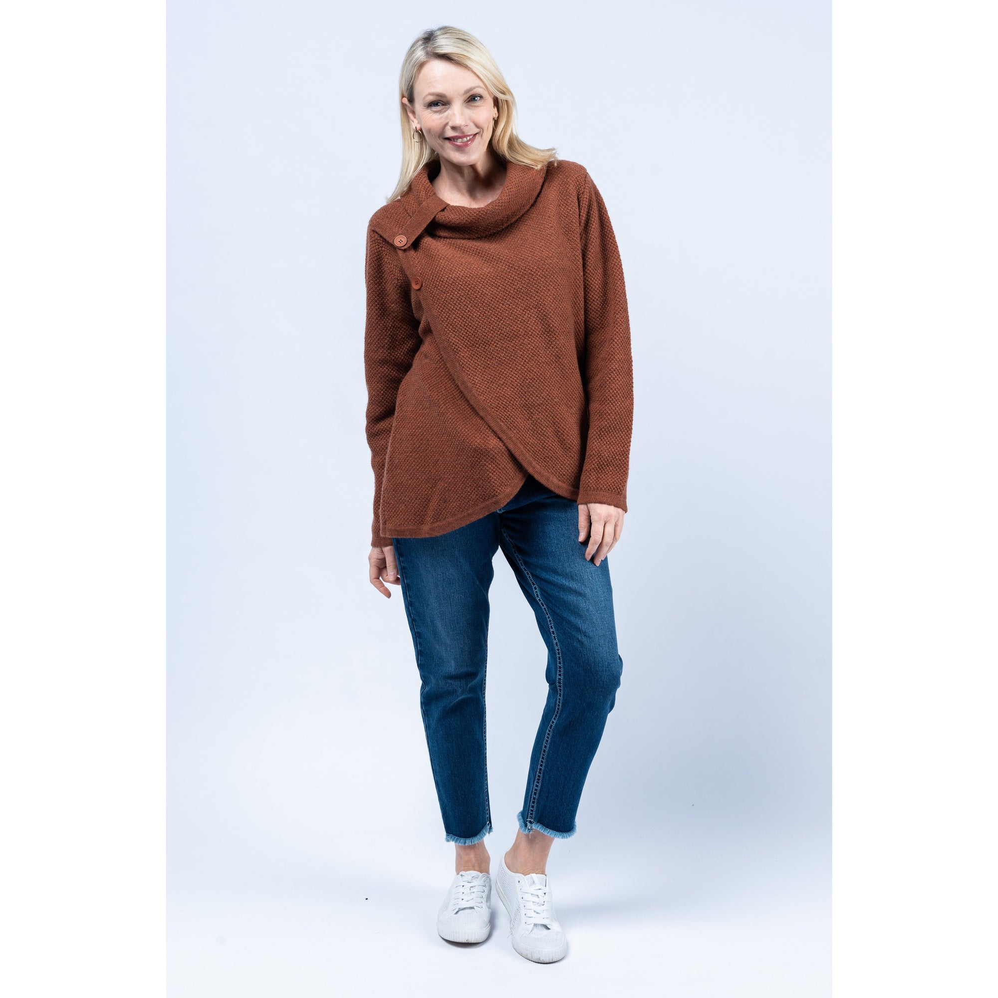 See Saw Roll Neck Crossover Sweater in Ginger
