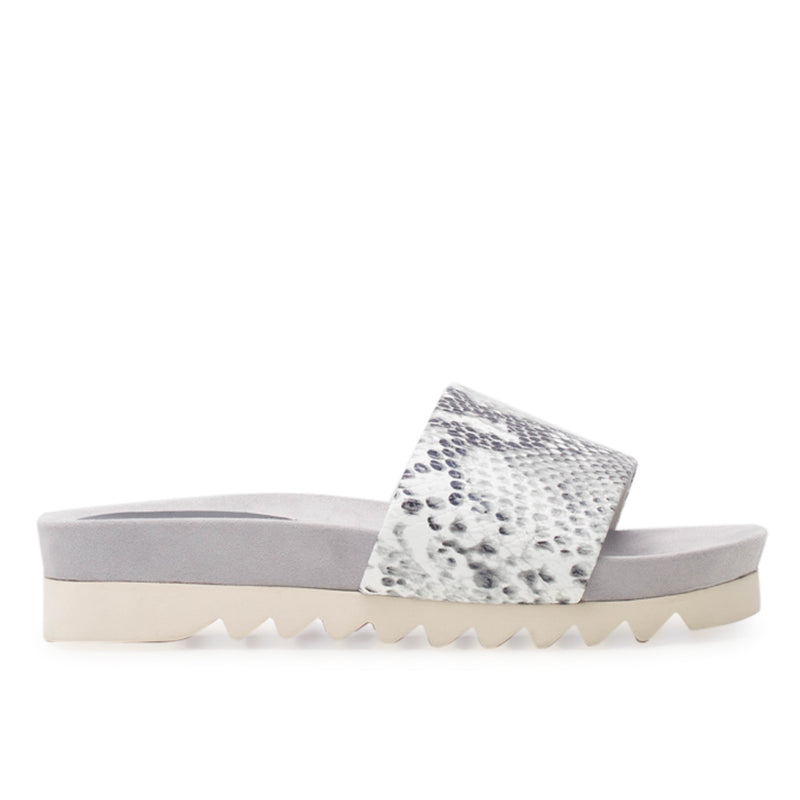 Rollie Sandal Slide Tooth Wedge Grey Snake
