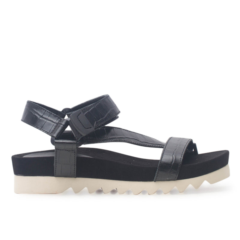 Rollie Sandal Tooth Wedge Black Croc