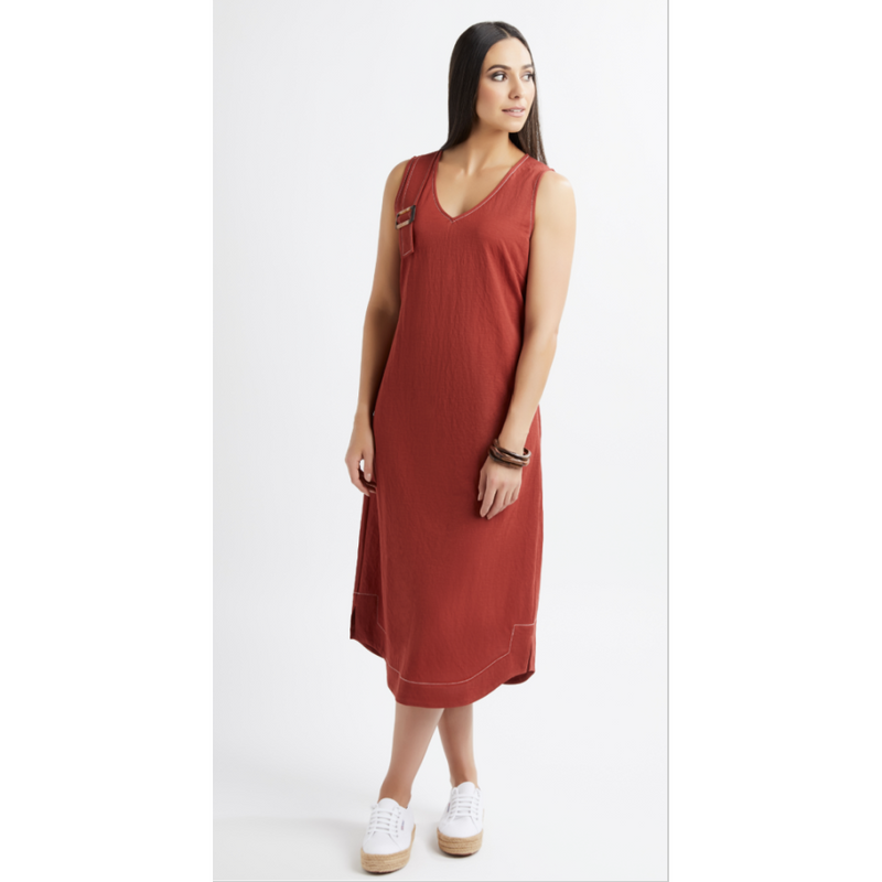 Foil Natty Arbuckle Dress in Paprika