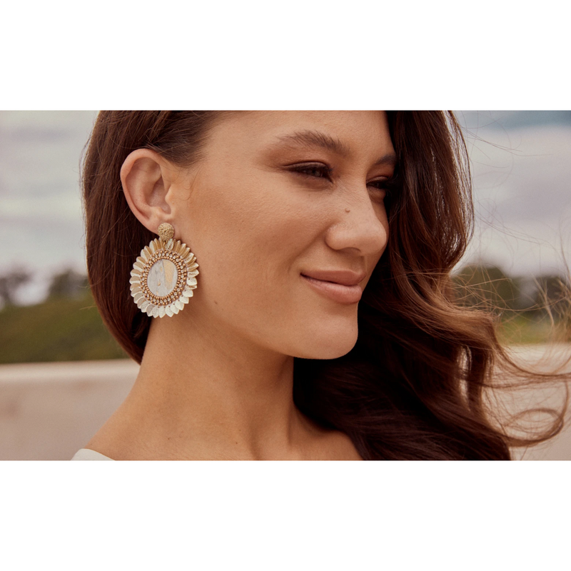 eb&ive Tata Flora Earrings in Ivory