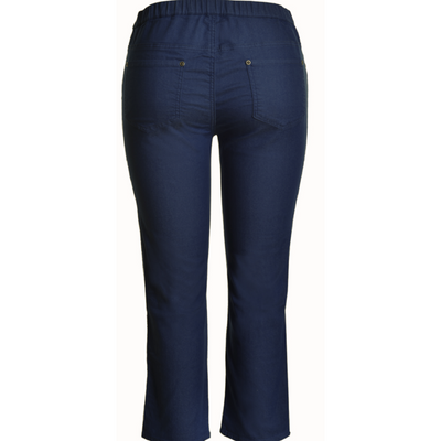 Cafe Latte Navy Stretch Pull-on 7/8 Jeans