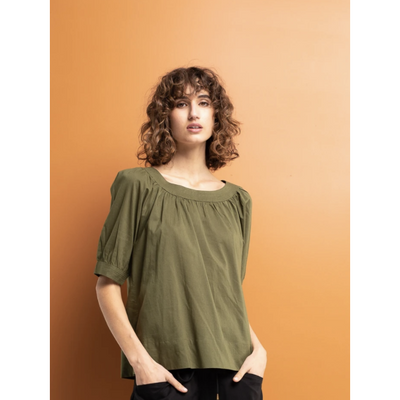 Boom Shankar Bliss Top in Plain Khaki