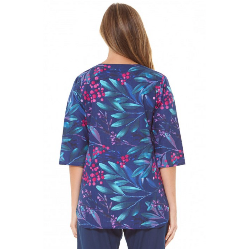 Rasaleela Lara Cotton 3/4 Sleeve Top in Berry Print