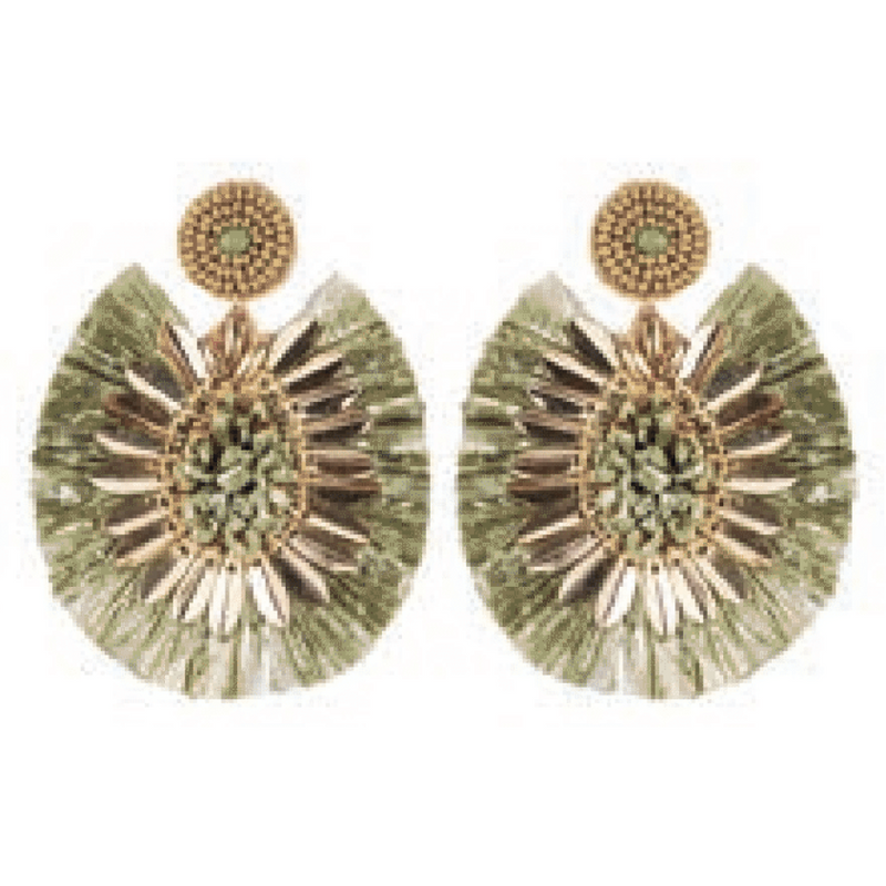 eb&ive Serengeti Fringe Earrings in Olive