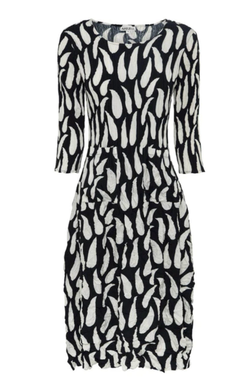 Alquema Three quarter sleeve Smash Dress in Ink feathers Print
