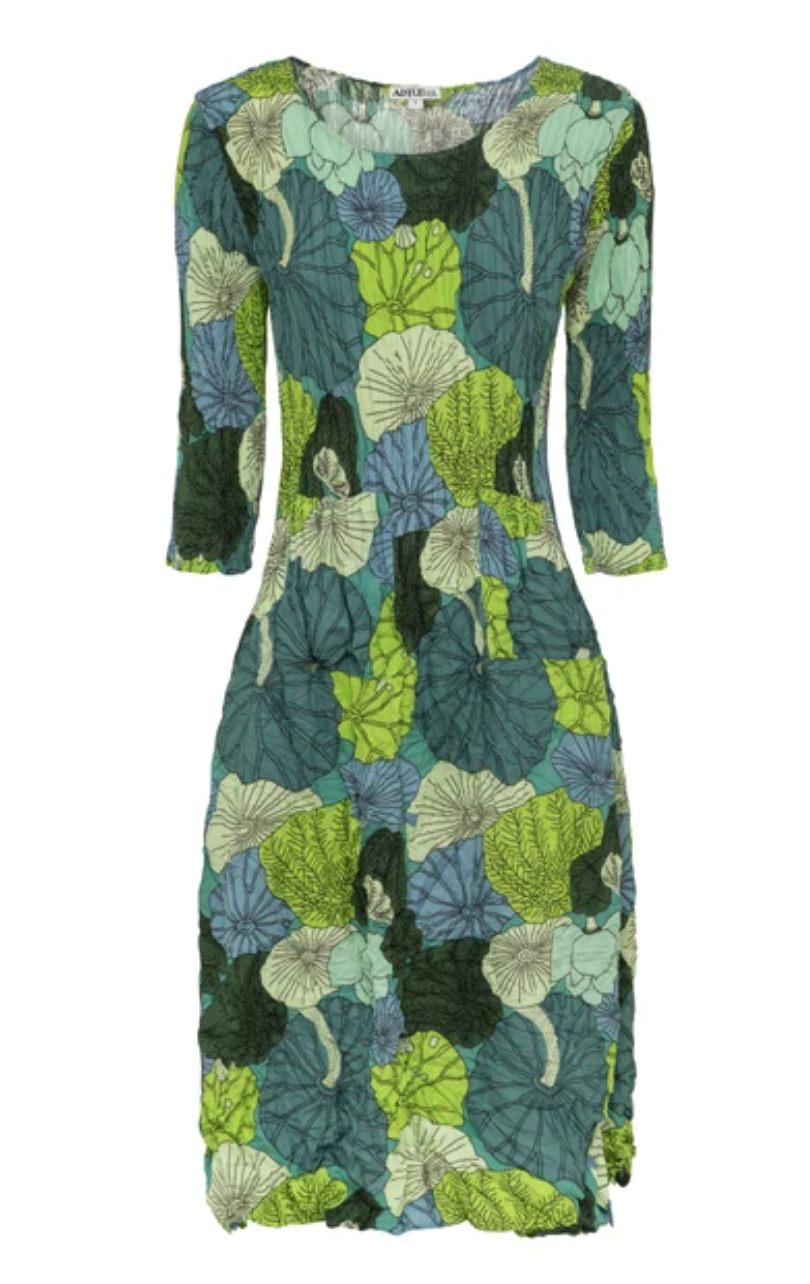 Alquema Three quarter sleeve Smash Dress in Lotus Print