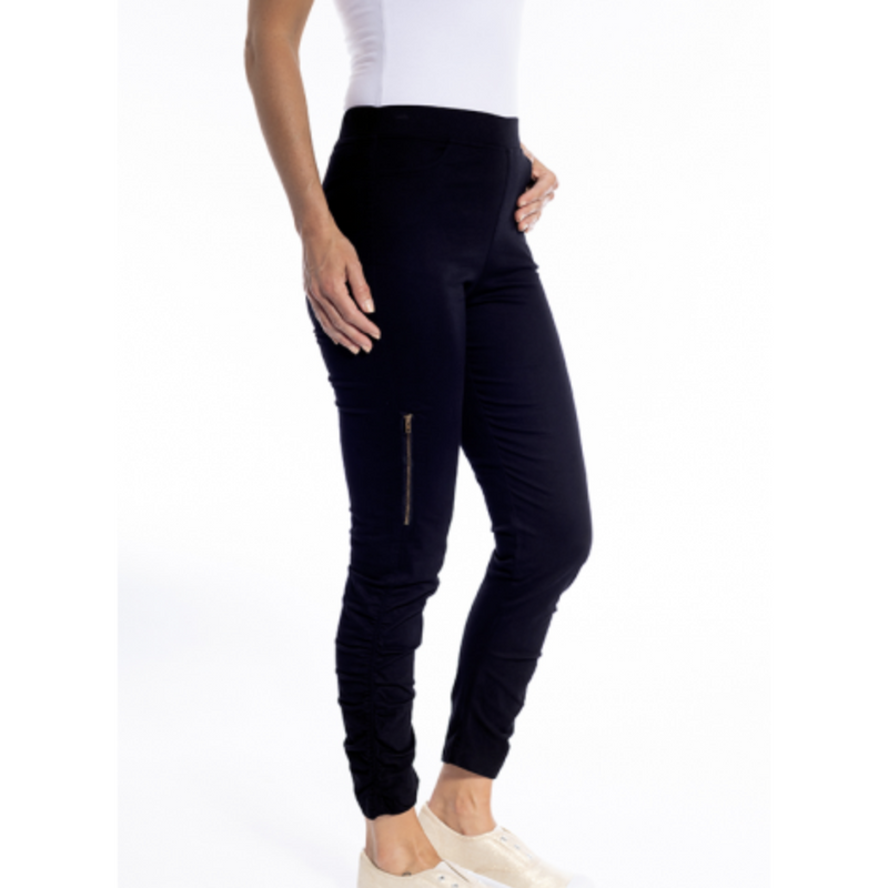 Cafe Latte Black Stretch Gathered Side Pull on Zip pant.