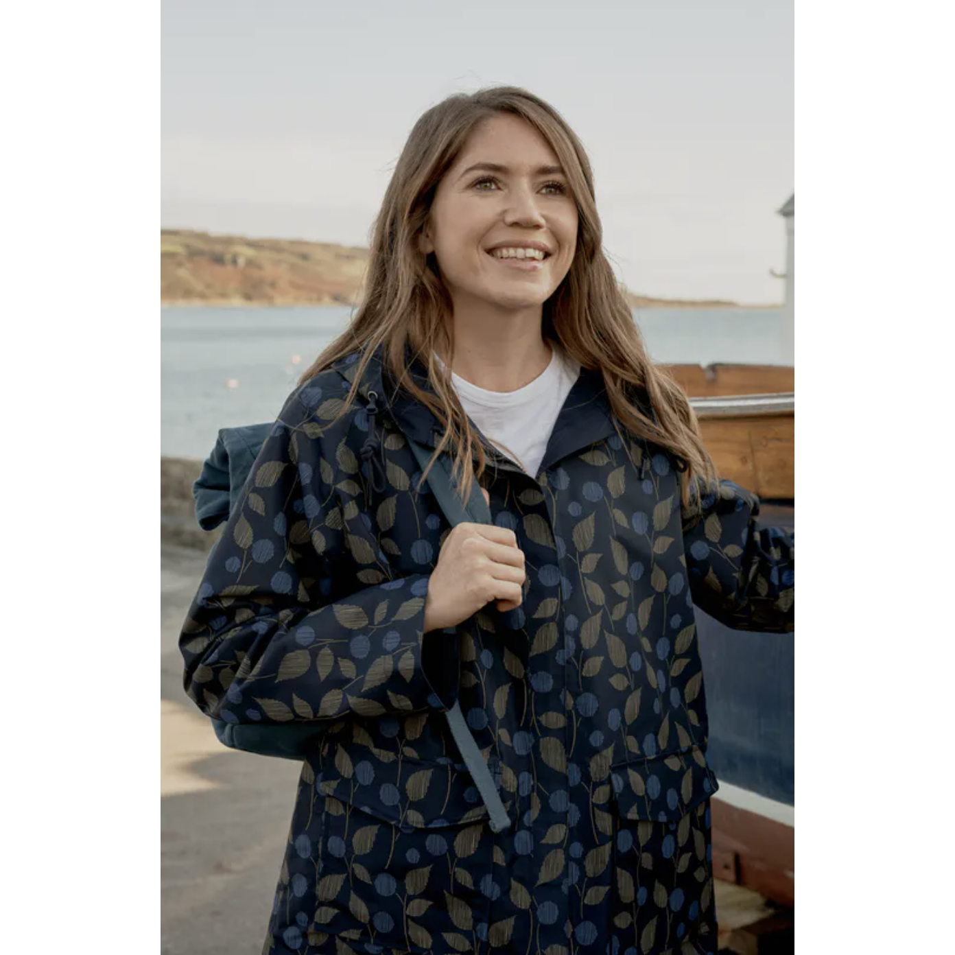 Seasalt The Reversible Raincoat-Berry Sprigs Midnight