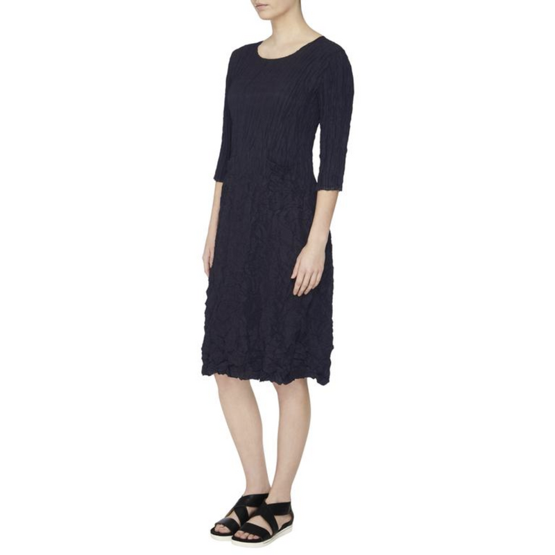 Alquema Three quarter sleeve Smash Dress in Plain Midnight