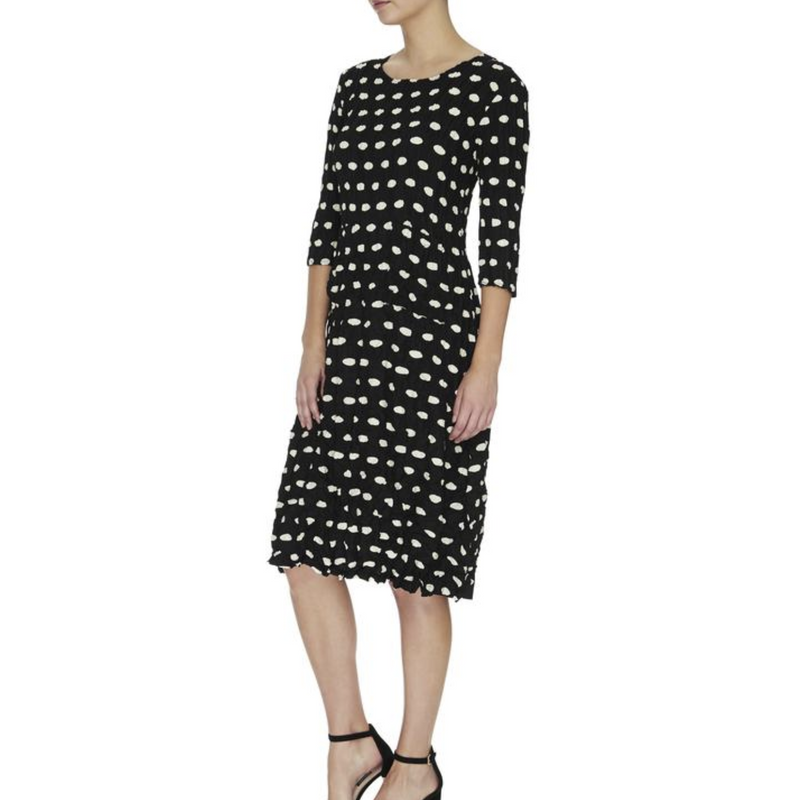 Alquema Three quarter sleeve Smash Dress in Elliptical Spot