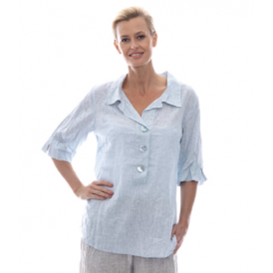 Sequel by Cafe Latte Top in Pale Blue Plain Linen