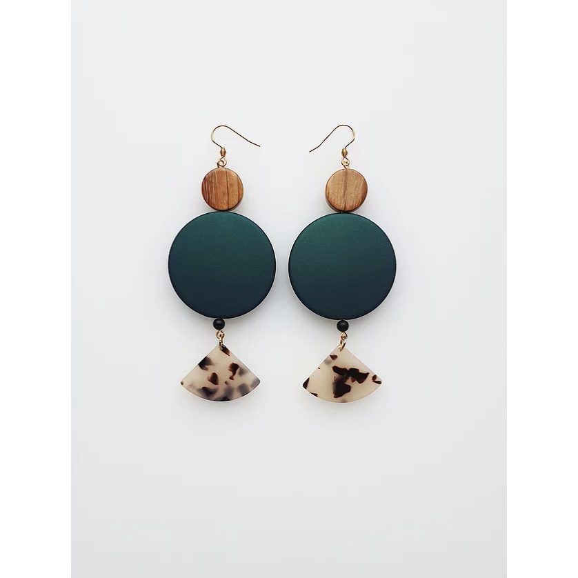 Middle Child Jewellery Peplum Earrings in Green
