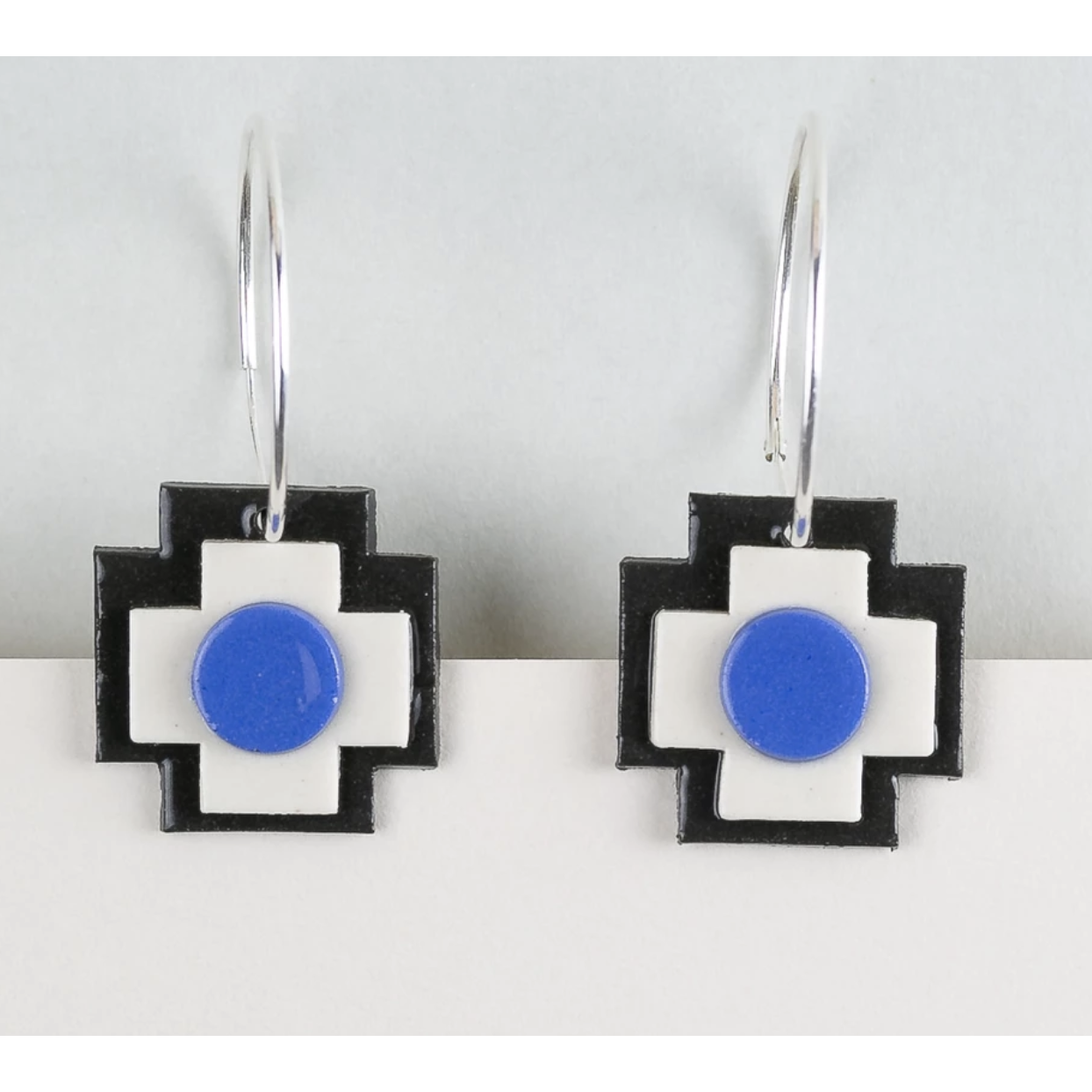 Erin Lightfoot Cross Hoop Blue earrings