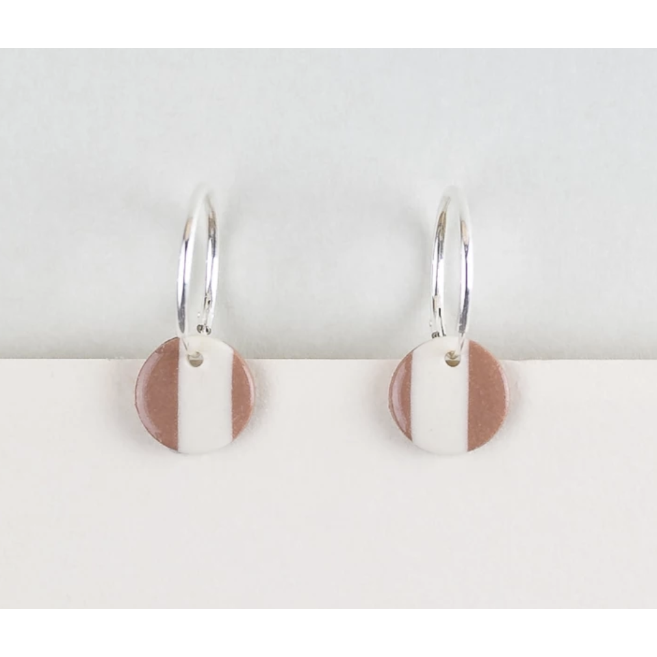 Erin Lightfoot Stripe Spot Brown earrings