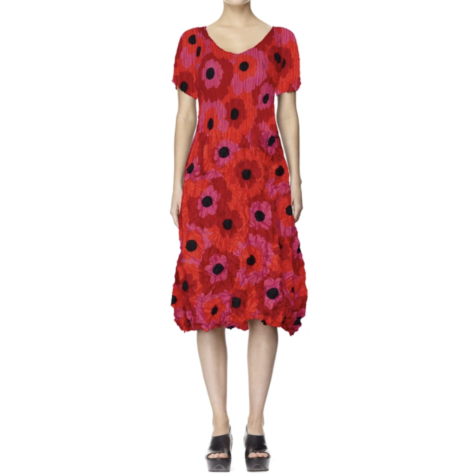 Alquema Smash Dress in Cerise Flower Spot short sleeves.