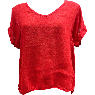 Talia Benson Linen V neck top in Red