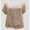 Talia Benson Linen V neck top in Rose Pink