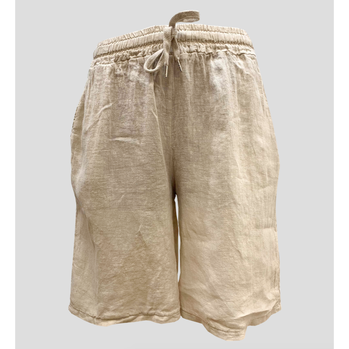 Talia Benson 100% Linen Bermuda shorts in natural.